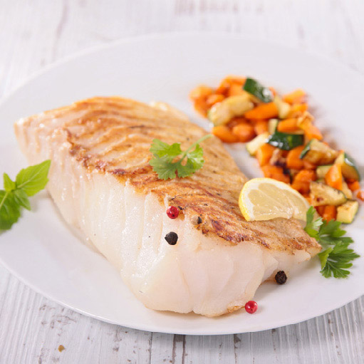 grilled fish fillet and vegetable
