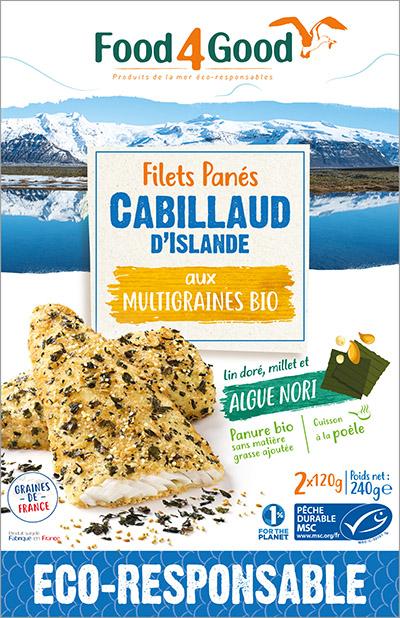 Filets panés de Cabillaud d'Islande MSC aux graines et algue Nori bio