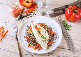 Recette Food4Good - Bar bio, nouilles soba et petits légumes