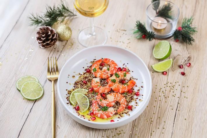 Recette Food4Good - Carpaccio de Gambas bio, citron vert, grenade et quinoa