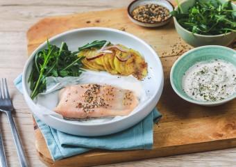 Recette Food4Good - Pavé de Truite bio en papillote, pommes de terre nouvelles et petites graines