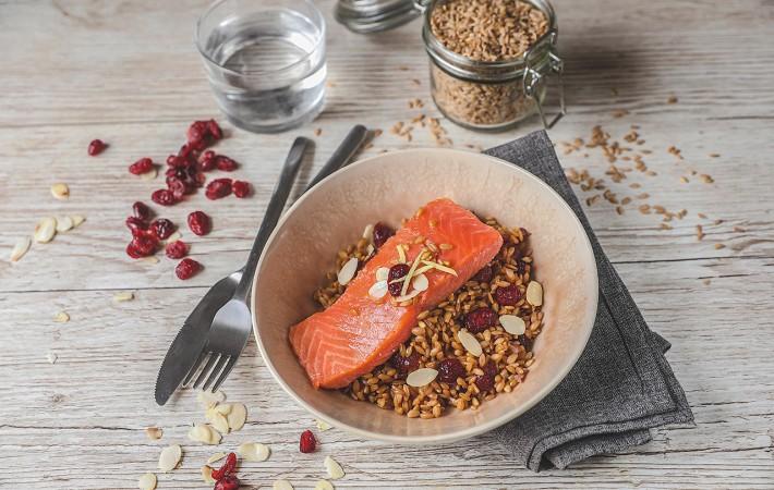 Recette Food4Good - Saumon sauvage MSC confit, petit épeautre et cranberries